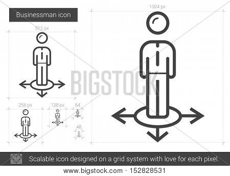 Businessman vector line icon isolated on white background. Businessman line icon for infographic, website or app. Scalable icon designed on a grid system.