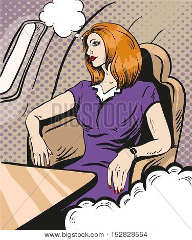 Girl siting and looking out the airplane window. Vector illustration in retro comic pop art style. Business class private jet.