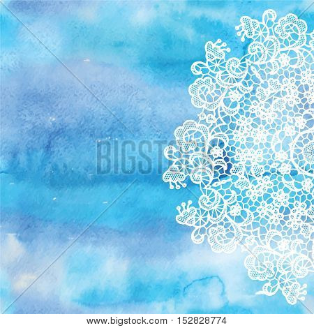 Elegant round lacy doily on watercolor background. Vector illustration.
