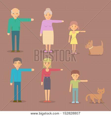 Flat vector characters. Mom, dad, grandma, grandpa, son daughter dog cat family character set