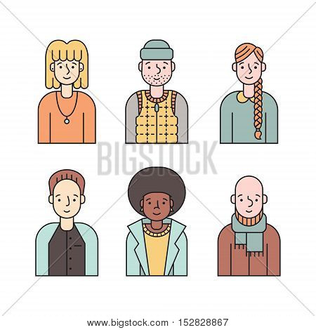 People multicolored icon vector set (men and women). Clean and simple design. Part four.