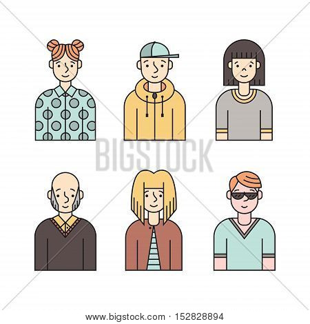 People multicolored icon vector set (men and women). Clean and simple design. Part one.