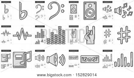 Music vector line icon set isolated on white background. Music line icon set for infographic, website or app. Scalable icon designed on a grid system.