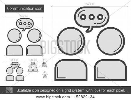 Communication vector line icon isolated on white background. Communication line icon for infographic, website or app. Scalable icon designed on a grid system.