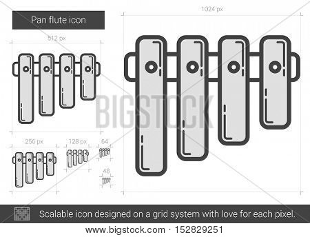 Pan flute vector line icon isolated on white background. Pan flute line icon for infographic, website or app. Scalable icon designed on a grid system.