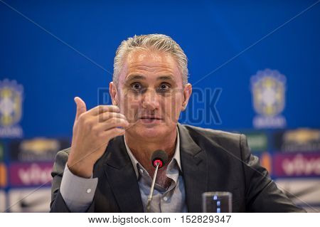 Rio de Janeiro october 21 2016: Brazilian national soccer team coach Tite during a press conference for the conference for next game against Argentina and Peru at the FIFA Russia 2018 World Cup