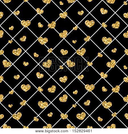 Golden hearts rhombus seamless pattern. Gold glitter and black template. Abstract texture. Retro Valentine day design for card wallpaper wrapping textile fabric etc. Vector Illustration