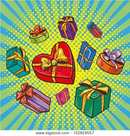 Presents and gifts boxes vector illustration in comic retro pop art style. Cartoon design elements and icons.