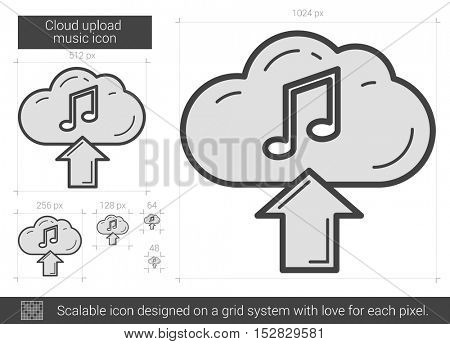 Cloud upload music vector line icon isolated on white background. Cloud upload music line icon for infographic, website or app. Scalable icon designed on a grid system.