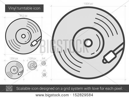 Vinyl turntable vector line icon isolated on white background. Vinyl turntable line icon for infographic, website or app. Scalable icon designed on a grid system.