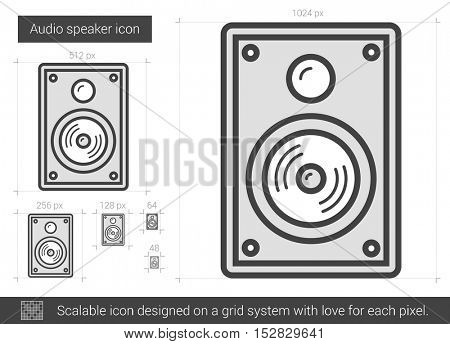 Audio speaker vector line icon isolated on white background. Audio speaker line icon for infographic, website or app. Scalable icon designed on a grid system.