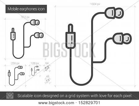 Mobile earphones vector line icon isolated on white background. Mobile earphones line icon for infographic, website or app. Scalable icon designed on a grid system.