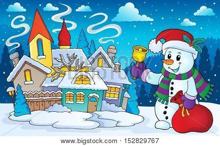 Christmas snowman in winter scenery - eps10 vector illustration.