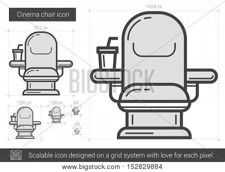 Cinema chair vector line icon isolated on white background. Cinema chair line icon for infographic, website or app. Scalable icon designed on a grid system.