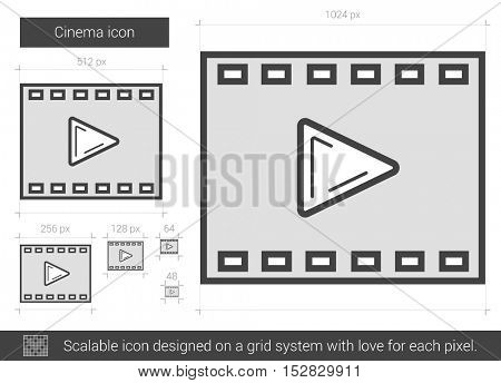 Cinema vector line icon isolated on white background. Cinema line icon for infographic, website or app. Scalable icon designed on a grid system.