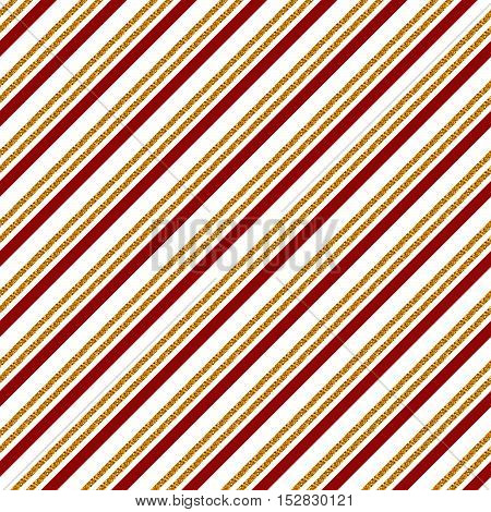 Seamless pattern with glittering stripes for Christmas or other holiday design. Vector background in white red and golden colors.