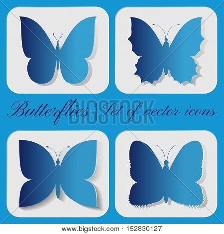 Set of 4 vector butterfly icon on a gray background.