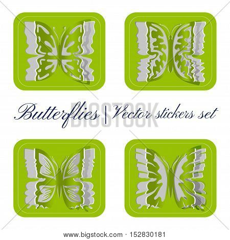 Set of vector stickers on green background. Set of carved butterflies. Green vector stickers of butterflies.