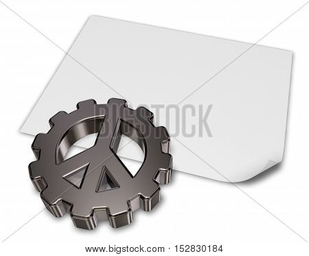 pacific symbol in gear wheel on blank white paper sheet - 3dillustration