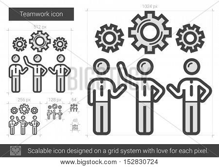 Teamwork vector line icon isolated on white background. Teamwork line icon for infographic, website or app. Scalable icon designed on a grid system.