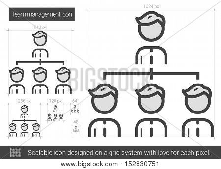 Team managment vector line icon isolated on white background. Team managment line icon for infographic, website or app. Scalable icon designed on a grid system.