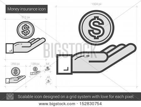 Money insurance vector line icon isolated on white background. Money insurance line icon for infographic, website or app. Scalable icon designed on a grid system.