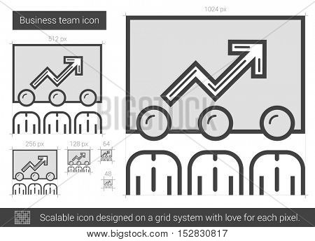 Business team vector line icon isolated on white background. Business team line icon for infographic, website or app. Scalable icon designed on a grid system.