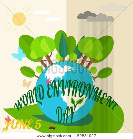 Vector illustration of World Environment Day with a globe butterflies forest rain clouds sun and ladybug. Creative vector picture of World Environment Day.