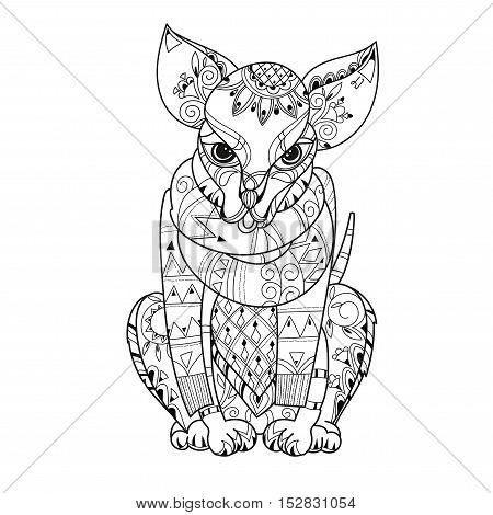 Hand drawn doodle outline cute dog decorated with ornaments.Vector zen art illustration.Floral ornament.Sketch for tattoo or relax anti stress adult coloring pages.