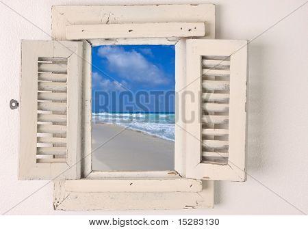 Little window with shutters.