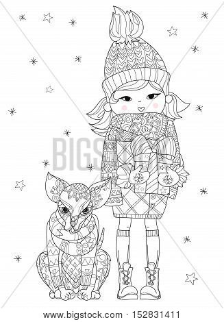 Hand drawn doodle outline dog decorated with ornaments near christmas girl.Vector zen art illustration.Floral ornament.Sketch for tattoo or relax anti stress adult coloring pages.