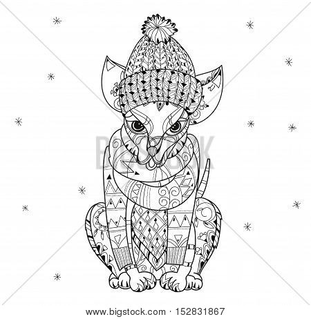 Hand drawn doodle outline dog in winter hat decorated with ornaments.Vector zen art illustration.Floral ornament.Sketch for tattoo or relax anti stress adult coloring pages.