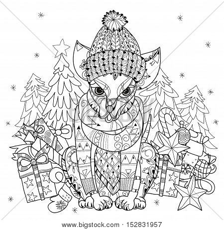 Hand drawn doodle outline dog in hat with christmas gifts decorated with ornaments.Vector zen art illustration.Floral ornament.Sketch for tattoo or relax anti stress adult coloring pages.