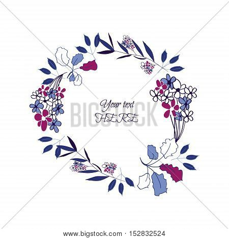Greeting card, wreath design. Hand drawn flowers and branch elements.