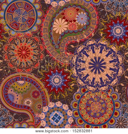 The pattern of mandalas and Paisley pattern in Indian style.