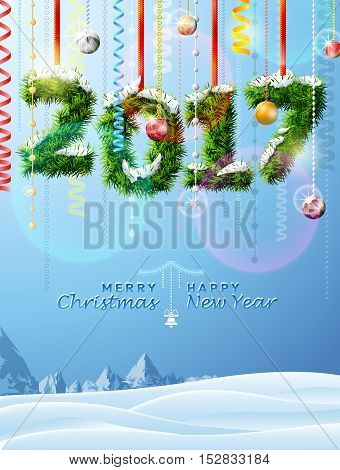 New Year 2017 of twigs like christmas decoration. Winter landscape with christmas congratulation. Vector illustration for new years day christmas winter holiday new years eve silvester etc