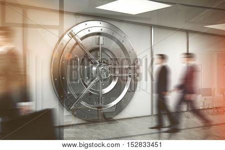Two bank workers are entering the vault. Their colleague is walking away. Concept of clerk work. Double exposure. 3d rendering