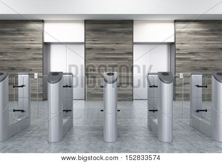Entrance to office with stainless steel turnstiles and two elevators in wooden walls. Concept of security. 3d rendering. Mockup.