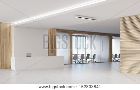 Reception Counter With Two Conference Rooms.