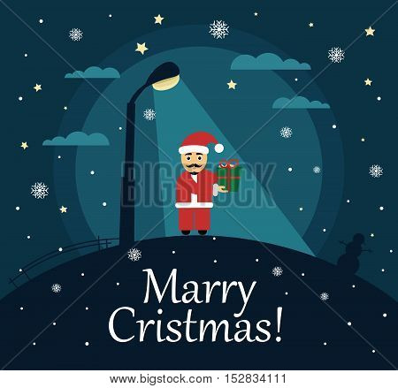 Happy Christmas Santa. Poster, banner or background for Merry Christmas. House, moon, stars and snow. Modern flat design.