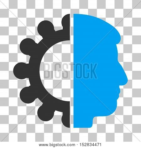 Blue And Gray Android Head interface pictogram. Vector pictograph style is a flat bicolor symbol on chess transparent background.