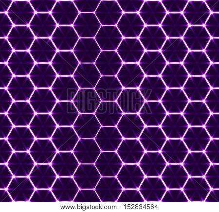 Honeycomb seamless pattern. Vector geometric background, luminous style