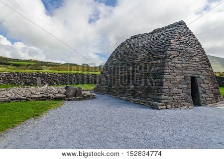 The Gallarus Oratory is Ireland;s best preserved early Christian church.  It is over a thousand years old and is constructed totally of dry stone.  The church is about 8 miles from Dingle, Ireland.