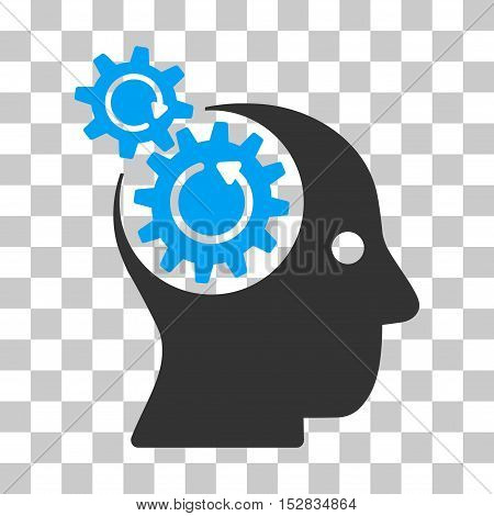 Blue And Gray Brain Gears Rotation interface toolbar icon. Vector pictograph style is a flat bicolor symbol on chess transparent background.