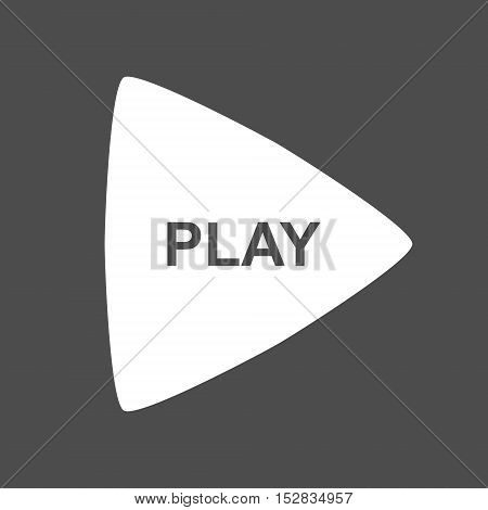 Simple play button icon. Isolated vector illustration on dark grey background.