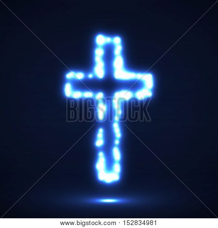 Glowing cross, christian symbol, abstract sign, vector