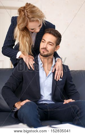 Secretary seduce young rich businessman in office