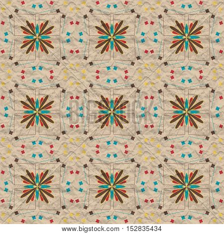 Seamless abstract pattern with lines and spots on crumpled paper