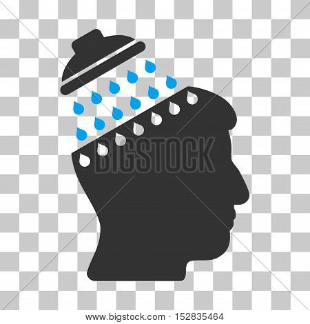 Blue And Gray Brain Shower toolbar icon. Vector pictogram style is a flat bicolor symbol on chess transparent background.