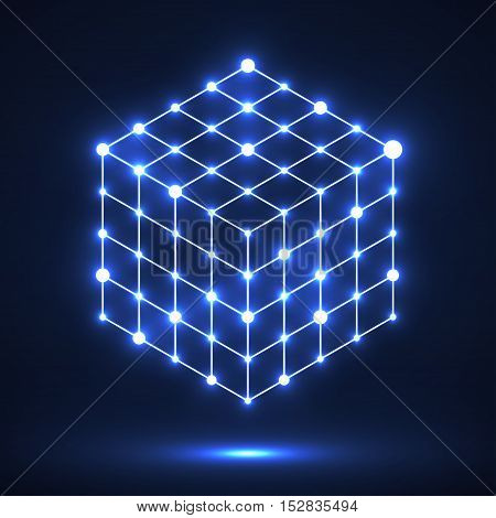 Cube of lines and dots, molecular lattice, geometric shape, network connection